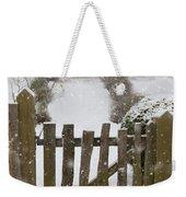 Garden Gate In Snow Weekender Tote Bag