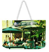 Garden Party Celebrations Under The Cool Green Umbrellas Of Restaurant Chase Cafe Art Scene Weekender Tote Bag