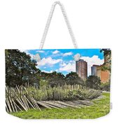 Garden With Bamboo Garden Fence In Battery Park In New York City-ny Weekender Tote Bag by Ruth Hager