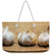 Garlic On Old Barrel Board Weekender Tote Bag