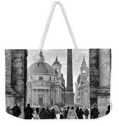 Gate To Piazza Del Popolo In Rome Weekender Tote Bag