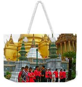 Gathering Near Pagodas Of Grand Palace Of Thailand In Bangkok Weekender Tote Bag