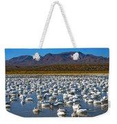 Geese At Bosque Del Apache Weekender Tote Bag by Kurt Van Wagner