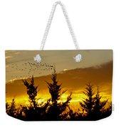 Geese In Golden Sunset Weekender Tote Bag