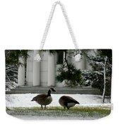Geese In Snow Weekender Tote Bag