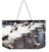 Geese On An Icy Pond Weekender Tote Bag