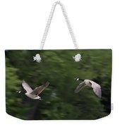 Geese Pair In Flight Weekender Tote Bag