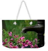Gentle Rain - Old Water Pump - Pink Petunias - Casper Wyoming Weekender Tote Bag