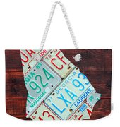 Georgia The Peach State License Plate Map On Fruitwood Weekender Tote Bag