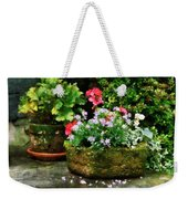 Geraniums And Lavender Flowers On Stone Steps Weekender Tote Bag