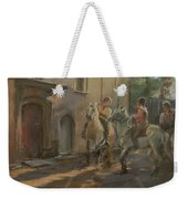 Getting Ready For The Bull Run, 2009 Pastel On Paper Weekender Tote Bag