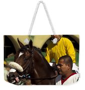 Getting Ready - Jockey And Horse For The Race Weekender Tote Bag
