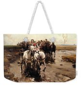 Giddy Up Weekender Tote Bag by Alfred von Wierusz-Kowalski
