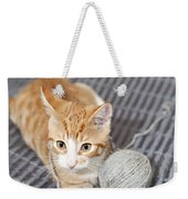 Ginger Cat With Yarn Ball Weekender Tote Bag
