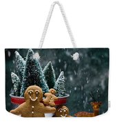 Gingerbread Family In Snow Weekender Tote Bag