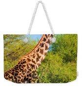 Giraffe Among Trees. Safari In Serengeti. Tanzania Weekender Tote Bag