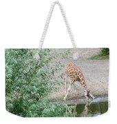 Giraffe Drinking Weekender Tote Bag