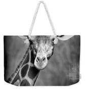 Giraffe Face In Black And White Weekender Tote Bag