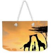 Giraffe Family Love Two Kids Weekender Tote Bag