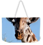 Giraffe Portrait Close-up. Safari In Serengeti. Weekender Tote Bag