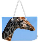 Giraffe Portrait Close-up. Safari In Serengeti. Tanzania Weekender Tote Bag