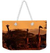 Giraffes At Sundown Weekender Tote Bag