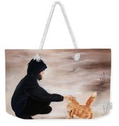 Girl And A Cat Weekender Tote Bag