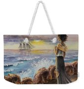 Girl And The Ocean Sailing Ship Weekender Tote Bag