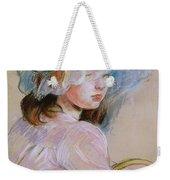 Girl Carrying A Basket Weekender Tote Bag