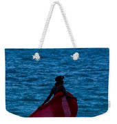 Girl In Red Float Weekender Tote Bag