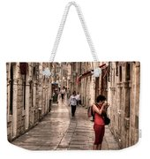 Girl In Red In The White Streets Of Dubrovnik Weekender Tote Bag