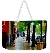 Girl In The Yellow Raincoat Rainy Stroll Through Streets Of The City Montreal Scenes Carole  Weekender Tote Bag