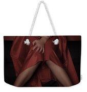 Girl On Black Sofa Weekender Tote Bag