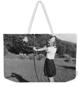 Girl Scout With Bow And Arrow Weekender Tote Bag