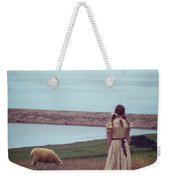Girl With A Sheep Weekender Tote Bag by Joana Kruse
