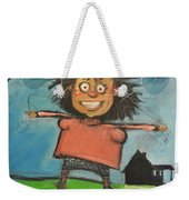 Girl With Balloons And Dog Weekender Tote Bag