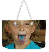 Girl With Blue Tongue Weekender Tote Bag