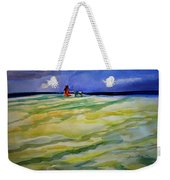Girl With Dog On The Beach Weekender Tote Bag