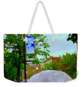 Girl With Large Umbrella Its Raining Its Pouring April Showers Montreal Scenes Carole Spandau Art Weekender Tote Bag