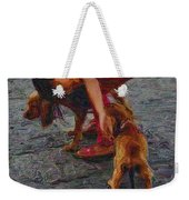 Girl With Two Dogs Weekender Tote Bag