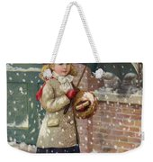 Girl With Umbrella In A Snow Shower Weekender Tote Bag