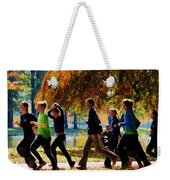 Girls Jogging On An Autumn Day Weekender Tote Bag
