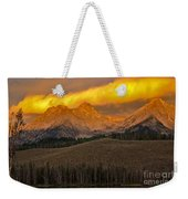 Glowing Sawtooth Mountains Weekender Tote Bag
