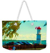 Go Fly A Kite Off A Short Pier Lachine Lighthouse Summer Scene Carole Spandau Montreal Art  Weekender Tote Bag