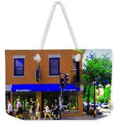 Going Places La Baguette Doree French Pastry Shop Busy Quebec Mont Royal City Scene Carole Spandau Weekender Tote Bag