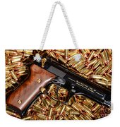 Gold 9mm Beretta With Brass Ammo Weekender Tote Bag