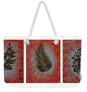 Gold Leaves On Orange Triptych Weekender Tote Bag