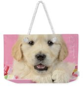 Gold Retriever Pink Background Weekender Tote Bag