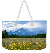 Golden Asters And Tetons From The Road In Grand Teton National Park-wyoming Weekender Tote Bag