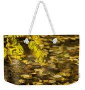Golden Autumn Colour Foliage On Rainy Pond Weekender Tote Bag